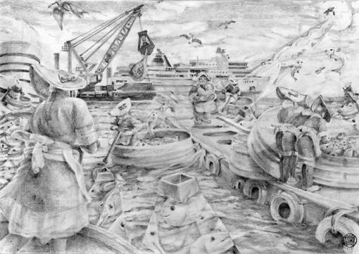 01・デッサン完成「佐渡のたらい舟」・ハンコ有り・510.jpg